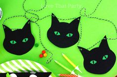 Black CAT HALLOWEEN BANNER, Printable Banner, Halloween Garland, Halloween Door Decor, Halloween Bunting, Kids Halloween Party, You Print by LoveThatPartyInvites on Etsy