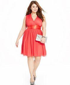 Trixxi Plus Size Sleeveless Empire A-Line Dress.... comes in white