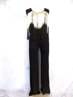 BEBE Jumpsuit Sz S Ombre Long Fringe Pantsuit Cocktail Party Celebrity Black