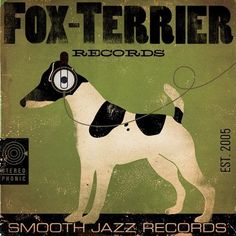 Fox Terrier records album style graphic artwork on 12 x 12 canvas by stephen fowler. $80.00, via Etsy.