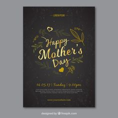 Golden elegant mother's day card Free Vector