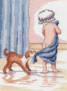 Bathtime - Faye Whittaker Arts, All Our Yesterdays Cross Stitch and Original Art Wesbsite Cross Stitch For Kids, Cross Stitch Baby, Cross Stitch Flowers, Cross Stitch Kits, Cross Stitch Charts, Cross Stitch Designs, Cross Stitch Patterns, Cross Stitching, Cross Stitch Embroidery