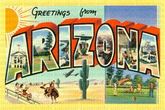 Arizona, Arizona Postcard, Arizona Souvenir Postcard, Arizona ...