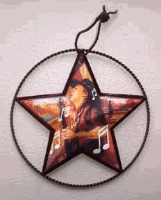 Stevie Ray Vaughn tin star ornament  handmade decoupage art by Sharon Finch