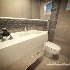 Bancada com cuba esculpida em quartzo e revestimento HD #ceramicaportinari no banheiro social. ✨ #joanaamboniarquitetura #instagood #instadecor #homestyle #bathroom #house #architecture #instahome