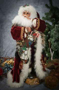 Not a Sound..  OOAk Santa Claus by Jill Zaperach. $699.00, via Etsy.