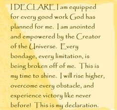 """I DECLARE I am equipped for every good work God has planned for me... Day #27 """"I DECLARE: 31 Promises To Speak Over Your Life"""" by Joel Osteen"""