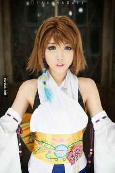 Final Fantasy: Yuna cosplay [This is just so perfect. She even has the heterochromic eyes!]