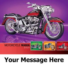 2016 Motorcycle Mania - Custom Cycles - Promotional Calendar Cover. Imprinted with your Business, Organization or Event Name and Logo As Low As 65¢.