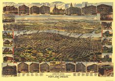 This richly colored 1890 bird's-eye view illustration of Portland showed the city from the industrial Northwest to South Portland and included Albina and East Portland. It also featured detailed views of select homes and businesses. A key at the bottom located many other properties.