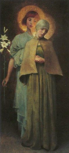 artist - Marianne Stokes...The Annunciation...had never seen this and I love Annunciation art.