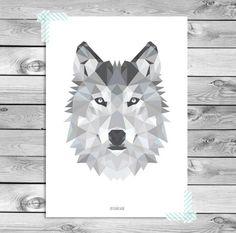 Printable A1 Art Poster Print - Zwart Wit Grijs Wolf Illustratie Geometrisch Dieren Stoer Kinderkamer Woonkamer Interieur Wanddecoratie
