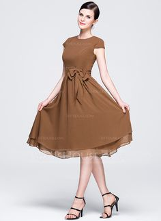 A-Line/Princess Scoop Neck Knee-Length Bow(s) Zipper Up Covered Button Sleeves Short Sleeves No Brown Spring Fall General Plus Chiffon Bridesmaid Dress