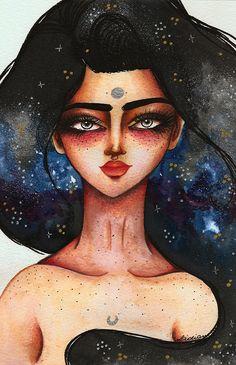 Nebula Girl, artwork by Lidiane Dutra | Ilustração #illustration #art