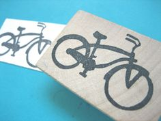 Bicycle Hand Carved Rubber Stamp Bike. $8.00, via Etsy.