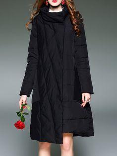 #AdoreWe #StyleWe Coats - D.FANNI Casual Long Sleeve Shift Down Coat - AdoreWe.net