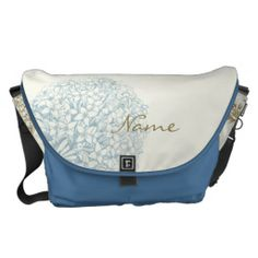 Personalized Name on Hydrangea Commuter Bags