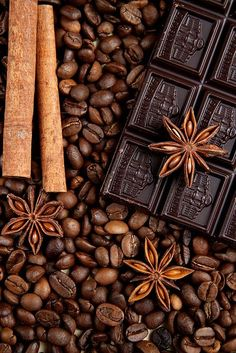 Spices Cinnamon, Star Anise and Coffee Beans and Chocolate I Love Coffee, Coffee Art, Coffee Break, My Coffee, Coffee Shop, Brown Coffee, Mocha Brown, Drink Coffee, Brown Brown