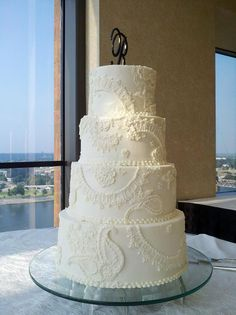 Piped lace buttercream wedding cake by bluecakecompany, via Flickr