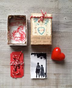 Altered vintage matchbox with two tickets to happiness inside