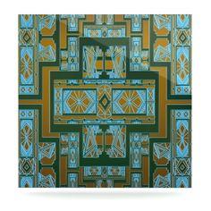 "Nika Martinez ""Golden Art Deco Green & Blue"" Luxe Square Panel"