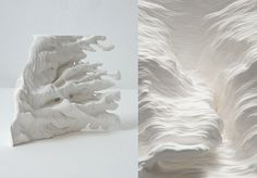 Organic forms cared out of paper by Noriko Ambe