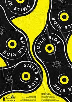 Smile Ride poster — 15 Km à vélo dans Paris intramuros Design : 2A1V Creative Studio