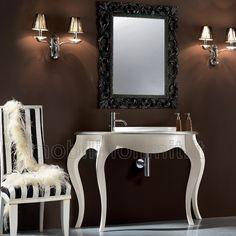 mobile bagno avorio patinato con dettagli in foglia argento con lavabo in ceramica l