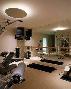 58 Awesome Ideas For Your Home Gym. It's Time For Workout Ideas For Your Home Gym with Alvas Wall Mount Double Adjustable Brackets and Ballet Barres Dream Home Gym, Best Home Gym, Home Gym Design, House Design, Garden Design, Gym Mirrors, Home Gym Decor, Home Gym Exercises, Basement Gym