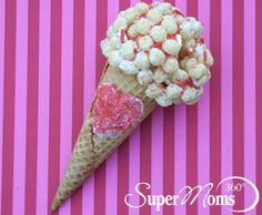 Sweet Scoops - Show your love scoop-by-scoop with these Sweet Scoops cones. Kids are sure to love these sweet treats! Tag: Valentine's Day Recipes for Kids | Valentine's Day Treats | Easy Valentine's Day Recipes | Valentine's Day Crafts For Kids | Easy Valentine's Day Crafts for Kids