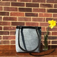Felt Handbag, Women Handbag, Gift for her, Felt Bag, Felt top handle bag, Shoulder Bag, Plain Grey Bag, Big Tote Bag, Grey Handbag. by LagasheOfficial on Etsy