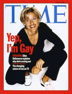 """This cover of TIME magazine is entitled, """"Yep, I'm Gay,"""" with a photograph of Ellen DeGeneres by celebrity photographer Firooz Zahedi. In the April 1997 issue of TIME magazine, DeGeneres spoke to writer Bruce Handy and admitted to him that she was gay. Ellen Degeneres Coming Out, Time Magazine, Magazine Covers, Magazine Photos, Magazine Rack, Nicole Kidman, Ellen And Portia, Gil Scott Heron, Ideas"""