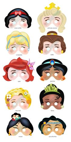 DISNEY PRINCESS PARTY Printable Mask Collection. Includes all 10 masks. Photo booth prop. Disney Snow White, Belle, Ariel, Rapunzel, Mulan. $15.00, via Etsy.