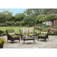 Better Homes and Gardens Amelia Cove 4-Piece Woven Patio Conversation Set, Seats 4