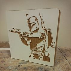 Wooden Boba Fett carving from Star wars ,  unique wooden artwork