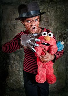 Nightmare on Sesame Street #cosplay  This is by far the most adorable thing I have ever seen. And this will be my kid one day.