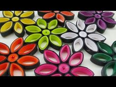 How to make | Colorful paper quilling flowers - YouTube