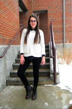 Leggings, big sweater on black collar shirt, Doc Martens