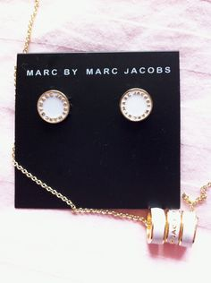 Marc by Marc Jacobs Enamel Logo Disc Earrings and Sweetie Rings Necklace, via preparatory-fashion