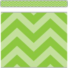 """Lime Chevron Straight Border Trim - Use colorful border trim to liven up your classroom! Create fresh looks for bulletin boards, windows, walls, and class projects. Mix and match with coordinating products (stickers, name plates, awards, etc.) for a classroom theme. Each border trim measures 35"""" x 3"""". 12 pieces per pack."""