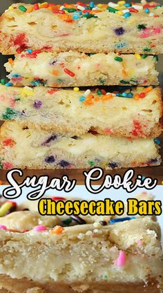 You at this point don't need to pick between your two most loved treats! Beginning with sugar treat mixture, this smooth cheesecake filling is spread onto a treat hull for a pastry that has the smartest possible solution. These Sugar Cookie Cheesecake Bars are the ideal expansion to your next family assembling or birthday celebration with companions. Any extras can be put away in the refrigerator for as long as 3 days, however we don't think you'll have any issue disposing of them. Sugar Cookie Cheesecake, Pumpkin Cheesecake Recipes, Cheesecake Bars, Brownie Recipes, Pie Recipes, Seafood Recipes, Cookie Recipes, Snack Recipes, Dinner Recipes