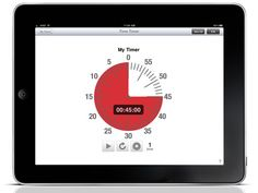 "Time Timer: iPad Edition ($6.99) as time elapses, the red disk gradually gets smaller.     See the Difference!  - Complete several tasks in a row – your Timers can repeat up to 16x!  - A perfect answer when your child asks ""how much longer?""  - Visual display reduces distractions and anxiety while you work.  - Keep meetings on time and on track.  - Proven remarkably effective for special needs children and adults.   60 Minutes Mode, Custom Mode, Clock Mode:"