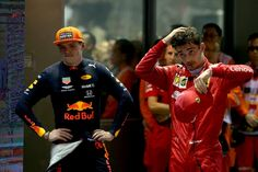 Second placed Charles Leclerc of Monaco and Ferrari and third placed. Red Bull Racing, F1 Racing, Drag Racing, Marina Bay, Thing 1, Max Charles, Mick Schumacher, Ferrari F12berlinetta, Daniel Ricciardo