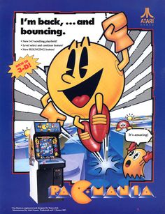Pac-Mania (1987) // pac-man retro game flyer arcade