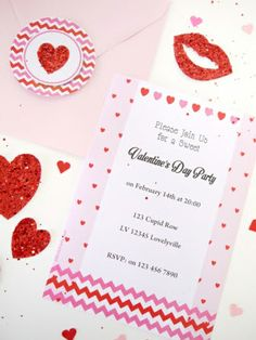 Hearts Pink and Red Valentine's Day Party Invitations #Valentines #PartyIdeas #Printables #Invites #Invitations #Hearts