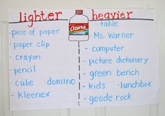 Weight. Rebekah McFall: A perfect addition to our classifying unit. Is it heavier or lighter than a water bottle? Mark it down in the long range plans.