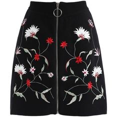 Chicwish Wildflowers Front Zip Embroidered Knit Bud Skirt in Black ($52) ❤ liked on Polyvore featuring skirts, black, zip front skirt, chicwish skirt, knit skirt, embroidered skirt and front zipper skirt
