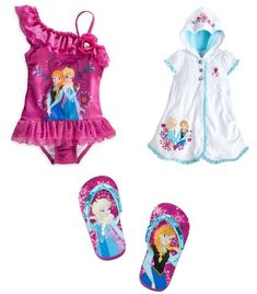 342784f775 Disney Store Frozen Elsa and Anna Swimsuit/Cover-Up - Size 3 (Flip Flops