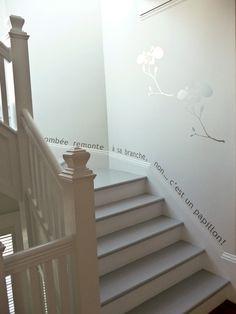 Text Runs Along Stair Baseboard