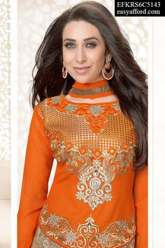 Karishma Kapoor Dazzling Orange Suit,  For Buy Call or Whatsapp on 08968017642 or 07837409851 or click this link below http://easyafford.com/bollywood-style/1129-karishma-kapoor-dazzling-orange-suit.html